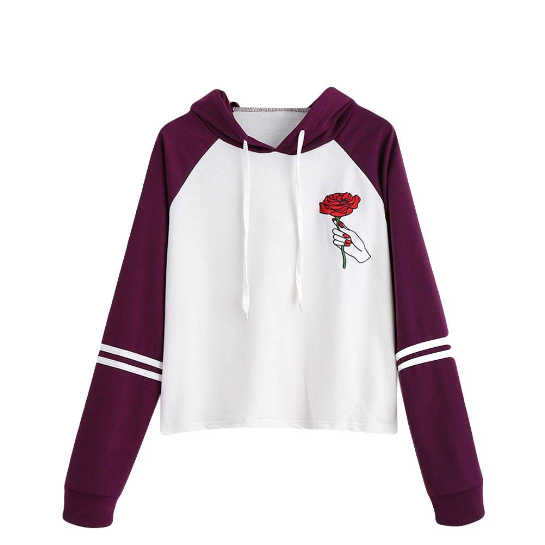 Realdo Clearance Womens Embroidery Rose Patchwork Long Sleeve Hooded T-Shirt O-Neck Loose Blouse Tops