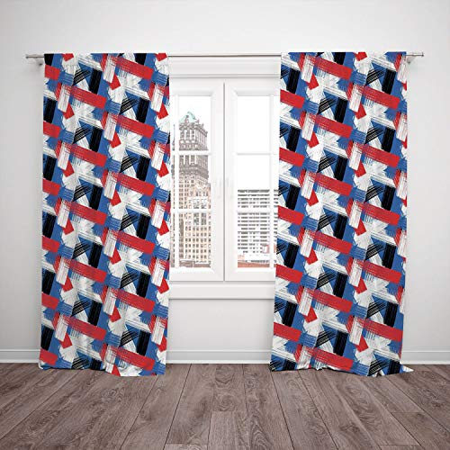 2 Panel Set Thermal Insulated Blackout Window Curtain,Watercolor Bold Stripes with Brush Stroke Effect Plaid Pattern Abstract Geometric Image Decorative Multicolor,for Bedroom Living Room Dorm Kitchen (Plaid Color Split Pattern)