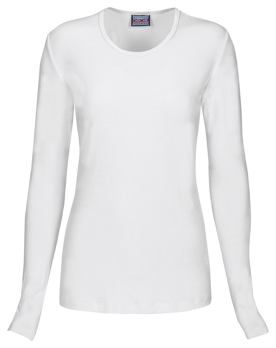 Cherokee Women's Classic Long Sleeve Knit Underscrub Tee_White_XX-Large,4881