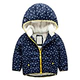 UMFun For 3T-7T Baby Winter Cotton Hooded Coat Jacket Thick Warm Zipper Outwear Clothes (7T, Navy)