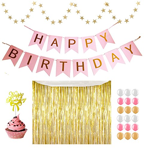 "Shopping for Pink Birthday Decoration Kit: ""Happy Birthday"" Swallowtail Banner, Gold Foil Certain, Round Gold Dot Banner, ""Happy Birthday"" Cupcake Topper, 18 pcs Balloons (Bubble Ball Chair)"