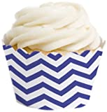 Dress My Cupcake Standard Cupcake Wrappers, Chevron, Royal Blue, Set of 50