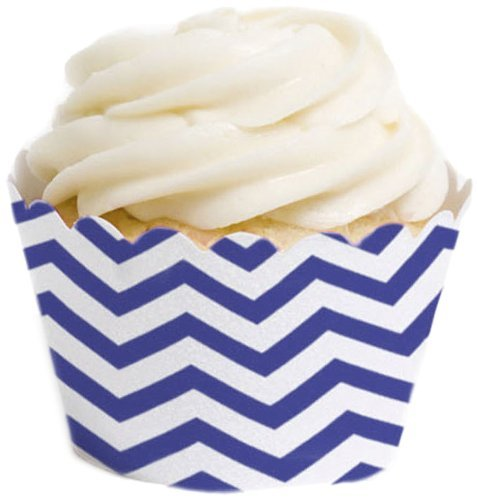Dress My Cupcake Standard Cupcake Wrappers, Chevron, Royal Blue, Set of 50 (Cookware Royal Blue)