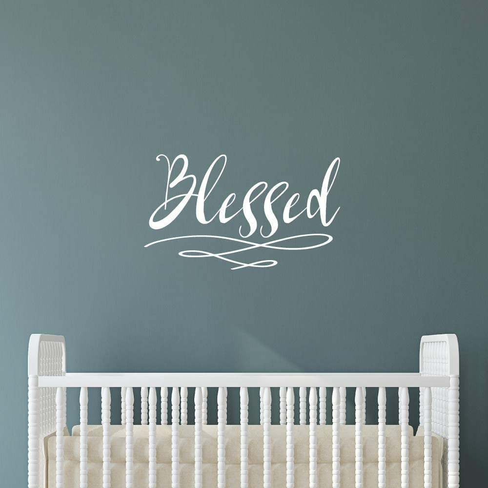 Blessed Wall Sticker | Home Decor Wall Decal | Large (21 x 13 inches) Inspirational Wall Quote | Vinyl Wall Decals Quotes | Uplifting Encouraging Decor Wall Art for Home Office Nursery (White)