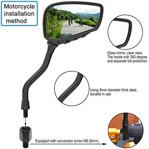 mountain bike riding accessories Black rear mirror CamKpell Adjustable bicycle rearview mirror