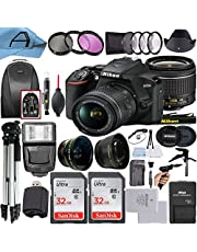 $649 » Nikon D3500 DSLR Camera 24.2MP Sensor with NIKKOR 18-55mm f/3.5-5.6G VR Lens, 2 Pack SanDisk 32GB Memory Card, Backpack, Tripod, Slave Flash Light and A-Cell Accessory Bundle (Black)