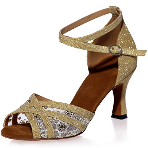 Sarahbridal Women Prom Strappy Crossover Sandals With Sequins Peep Toe Evening Glitter Latin Dance Shoes For Girls Size SZXF8349 Gold 1dx1yQD