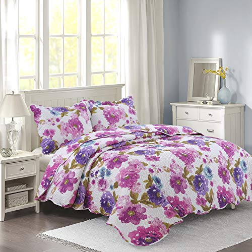 YESHOME Printed Quilt Set Flower Decorative Bedspread Coverlet - King, Full/Queen Size-Flower ()