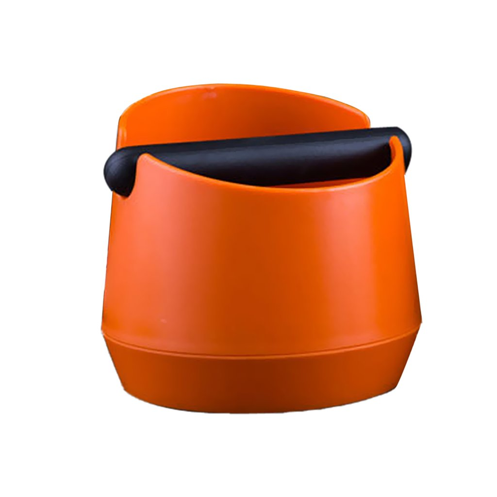 MagiDeal Coffee Knock Box With Handle Bucket Espresso Grinds Tamper Waste Bin - Orange, 14.8cm