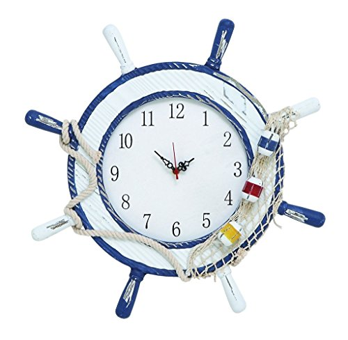 17 Inches Ship Wheel Wall Clock Distressed Wood Blue White Nautical Decor Beach Ocean - Nagina International