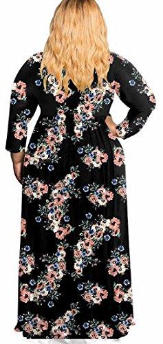 Jaycargogo Womens Imprimé Floral Manches 3/4 Boho Longue Robe De Soirée Taille Plus 4