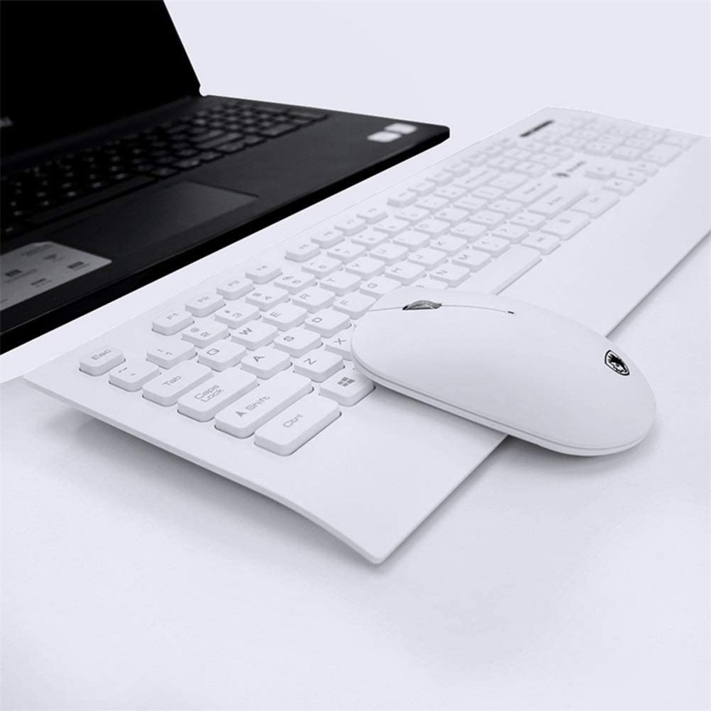 JINXUXIONGDI Wireless Keyboard and Mouse Set Combination Home Notebook Desktop Computer Silent Mute Thin Office Typing Business Learning Keyboard Color : Black White, Black