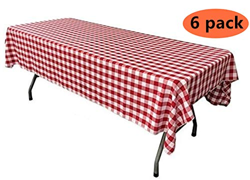 Yansanido Plastic Picnic Party Tablecloth,6 Pack Plastic Picnic