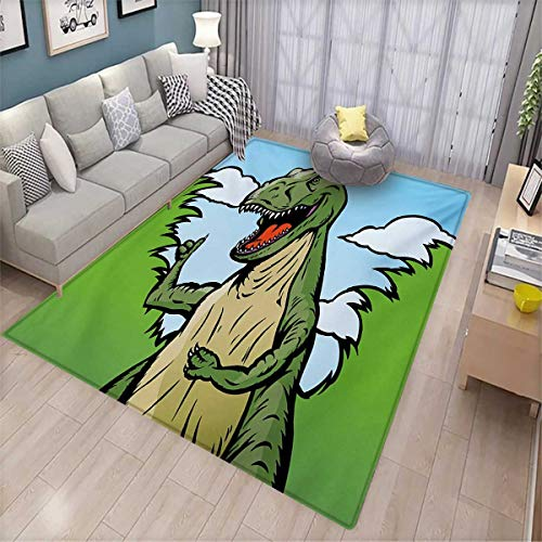 Price comparison product image Dinosaur Anti-Skid Rugs Cartoon T-Rex with Funny Face Giving Thumps Up Clouds Trees Sky Girls Rooms Kids Rooms Nursery Decor Mats 5'x8' Green Dark Green Pale Blue