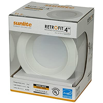 Sunlite LFX/RDL/4R/11.5W/D/E/WW 4 Inch LED Downlights Retrofit Recessed Fixture Dimmable Damp Location, Warm White 3000K White Finish