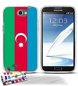Carcasa Flexible Ultra-Slim SAMSUNG GALAXY NOTE 2 / N7100 de exclusivo motivo [Bandera Azerbaiyán] [Transparente] de MUZZANO + 3 Pelliculas de Pantalla UltraClear + ESTILETE y PAÑO MUZZANO® REGALADOS - La Protección Antigolpes ULTIMA, ELEGANTE Y DURADERA para su SAMSUNG GALAXY NOTE 2 / N7100