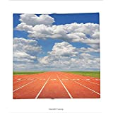 Custom printed Throw Blanket with Olympics Decorations Collection Sports Competition Running Track On A Sunny Day Lawn Grass Field Cloudy Sky Super soft and Cozy Fleece Blanket