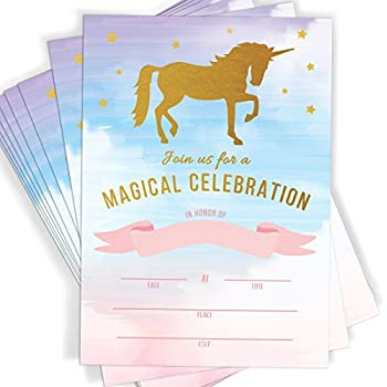 Amazon magical unicorn celebration rainbow party fill in magical unicorn celebration rainbow party fill in invitations 10 invitations and envelopes stopboris Image collections
