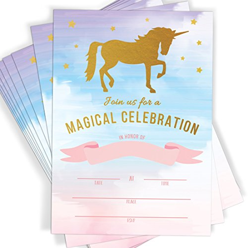 Magical Unicorn Celebration | Rainbow Party Fill in Invitations | 10 Invitations and Envelopes