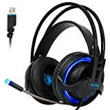 Sades R2 Gaming Headset Virtual 7.1 Channel Surround Sound Stereo Headphones Colorful Breathing LED lights With Mic USB Plug