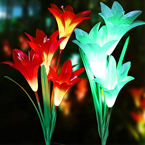 LOVAC Outdoor Solar Garden Stake Lights Solar Powered Lily Flower Lights,Multi-Color Changing LED Solar Stake Lights for Garden,Backyard,Yard (Orange&White) by LOVAC