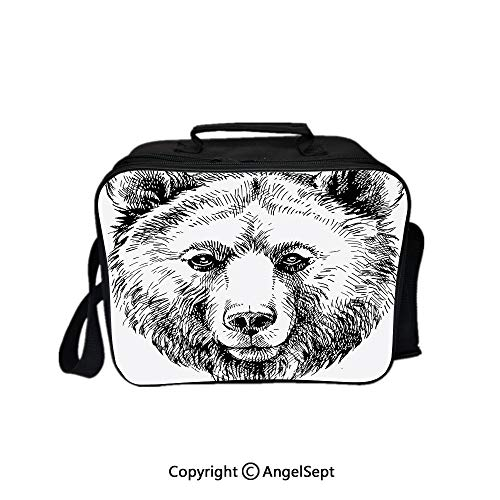(Reusable Lunch Bag With Adjustable Shoulder Strap,Hand Sketch Grizzly Bear Wildlife Mammal Ink Drawing Figure Nature Theme Artwork Black White 8.3inch,Office Work Picnic Hiking Beach Lunch Box )