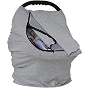 Baby Moft Baby Car Seat Canopy Cover for Boys and Girls | All Weather Universal Fit Zipped Window Cover for Infant Seats | Stretchy Breastfeeding Cover by