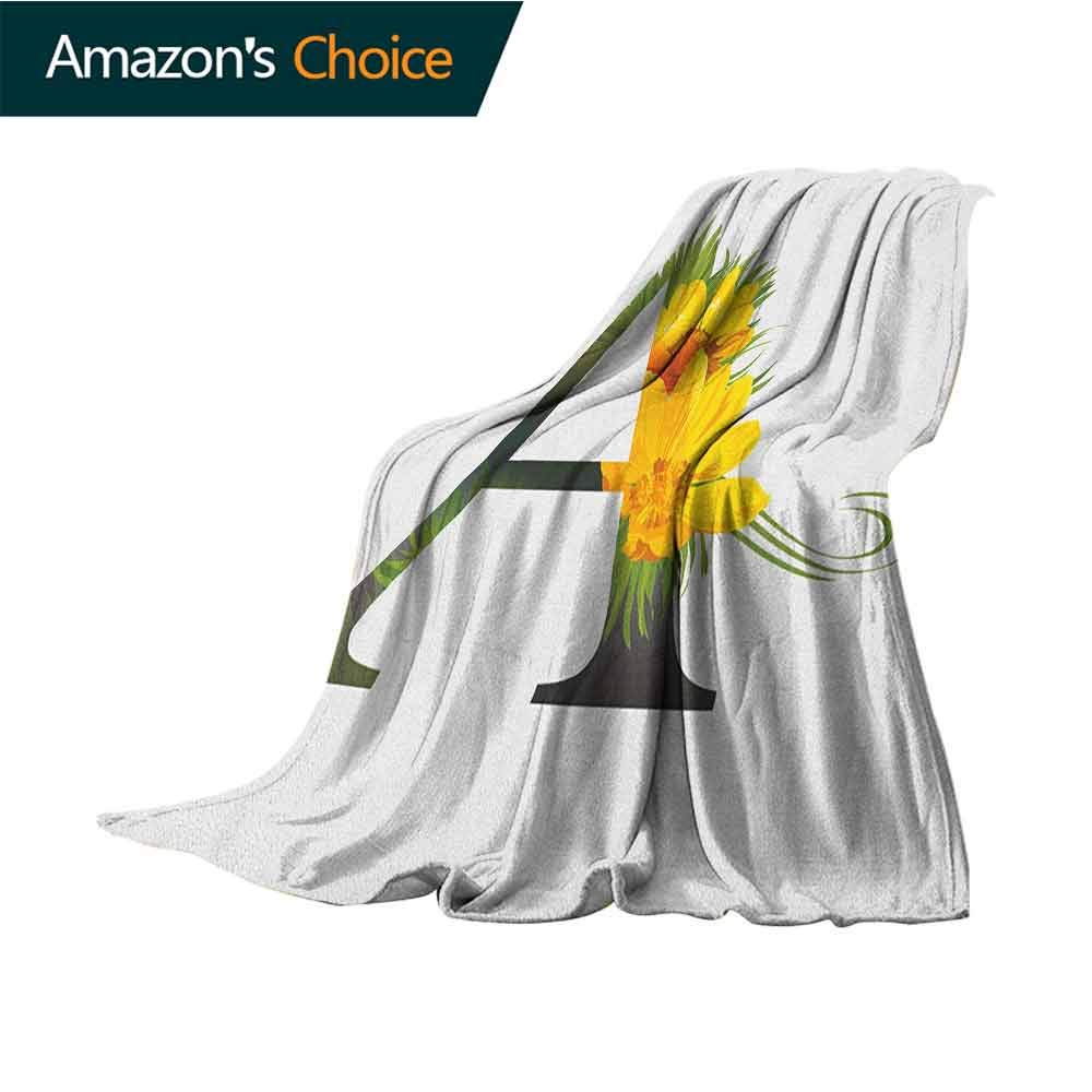 Letter A Cold Blanket,Flowering Alphabet Design Letter and Adonisroeschen Blossoms Typography Warm Microfiber All Season Blanket,50'' Wx60 L Marigold Green Black