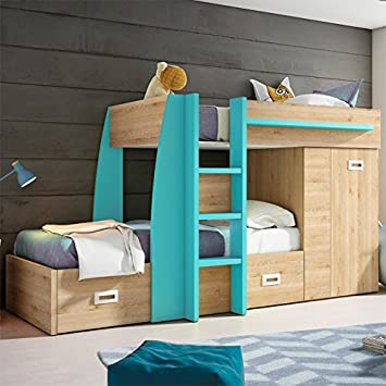 Turquoise Danish Pine Train Bunk Bed Amazon Co Uk Kitchen Home