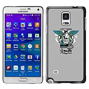 LECELL -- Funda protectora / Cubierta / Piel For Samsung Galaxy Note 4 SM-N910F SM-N910K SM-N910C SM-N910W8 SM-N910U SM-N910 -- Lion Wings Street Style --