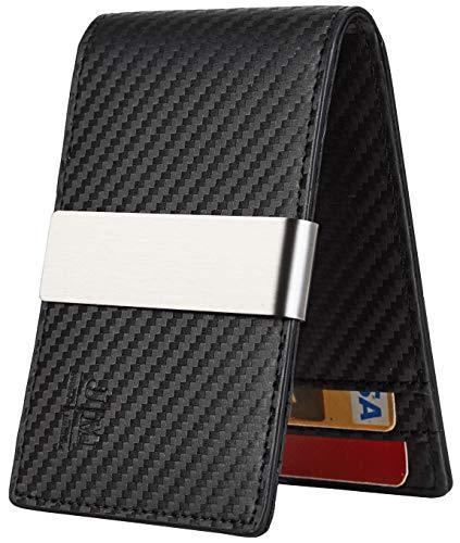 JM Minimalist Slim Leather Wallet Money Clip Credit Card Holder for Men RFID Blocking (carbon fiber black w/metal clip)