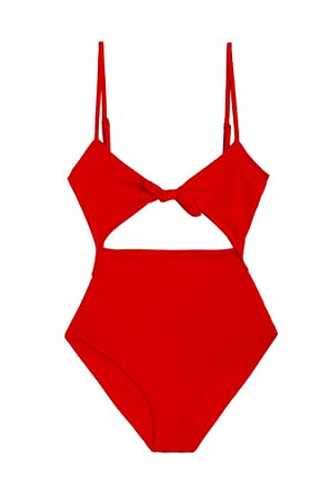 a59047c92303f Signe Womens Red One-Piece Swimsuit Cutout High Waisted Bathing Suits