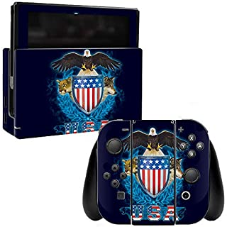 MightySkins Skin Compatible with Nintendo Switch - USA Trinity | Protective, Durable, and Unique Vinyl Decal wrap Cover | Easy to Apply, Remove, and Change Styles | Made in The USA
