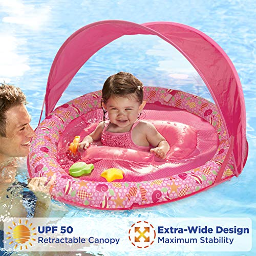 SwimSchool Toys and Joys Fabric Baby Boat, Retractable Canopy, UPF 50, Extra-Wide Inflatable Pool Float with Three Toys, 6 to 24 Months, Pink
