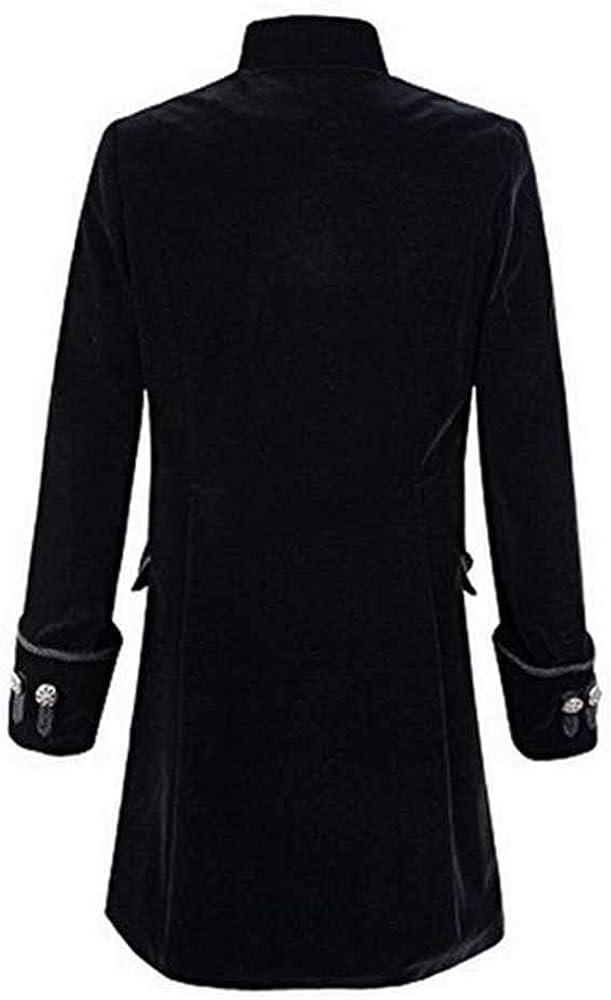 Men Fashion Steampunk Vintage Tailcoat Long Jacket Gothic Frock Uniform Coat Winter Warm Long Sleeve Button Tops