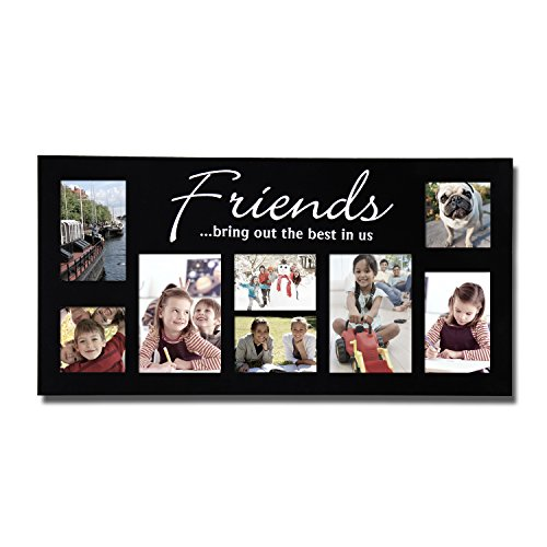 Asense Decorative Wood Linear and Block Friends Wall Hanging Picture Photo Collage Frame 8 Openings [PFA029]