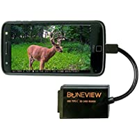 BoneView Trail Camera Viewer for Type-C Reversible USB New Android Phones Only, SD - Micro SD Memory Card Reader Views Deer Hunting Photo and Video of Motion Scouting Game Cam on Smartphone or Tablets