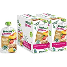 Sprout Organic Stage 2 Baby Food Pouches, Peach Oatmeal with Coconut Milk and Pineapple, 3.5 Ounce (Pack of 12) USDA Organic, Non-GMO, Made with Whole Foods, No Preservatives, Nothing Artificial