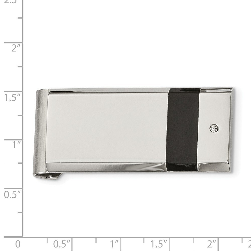 Stainless Steel Polished Black Rubber and CZ Money Clip