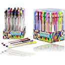 Bright Knight Gel Pens, 36 Gel Pen Set, Quality Gel Ink Pens, Neon Pastel Metallic Glitter. Ideal for Mandalas, Adult Therapy coloring, Secret Garden