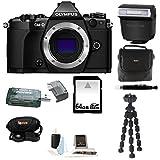 Olympus OM-D E-M5 Mark II Camera Body (Black) Olympus FL-LM3 Flash with 64GB Deluxe Accessory Bundle