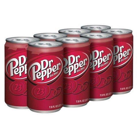 Dr Pepper Soda 7.5oz Small Slim Mini Cans 3/8 Packs (24 Cans) (Choose Flavor Bel…