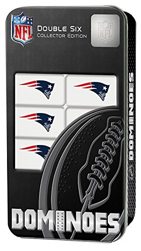 NFL Licensed New England Patriots Full Set of 28 Double 6 Collectors Edition Dominoes in Tin