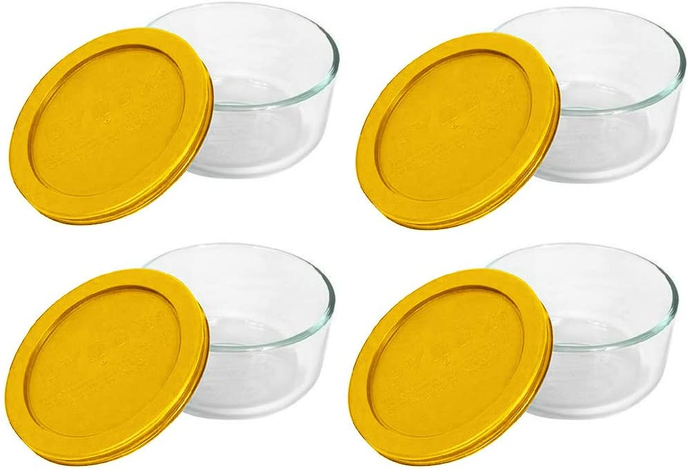 Pyrex Storage Plus 2-Cup Round Glass Food Storage Dish, Yellow Cover (4 Pack)