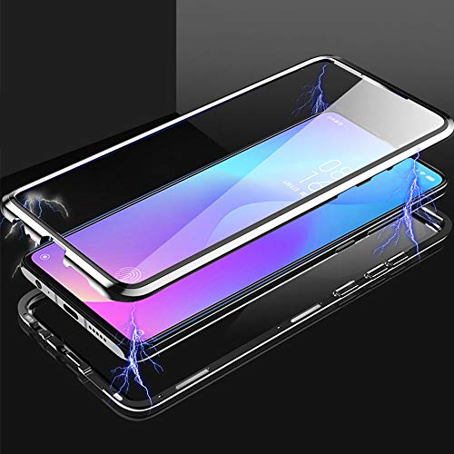 HaptiCase Case for Huawei P30 Magnetic Cover,Magnetic Adsorption Technology 9H Front and Back Tempered Glass Cover 360°Shockproof Full Body Protector Ultra Thin Metal Bumper For Huawei P30 - Black