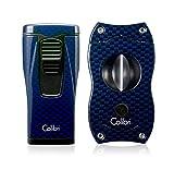 Colibri Monaco Lighter + V-Cut Blue Carbon Fiber