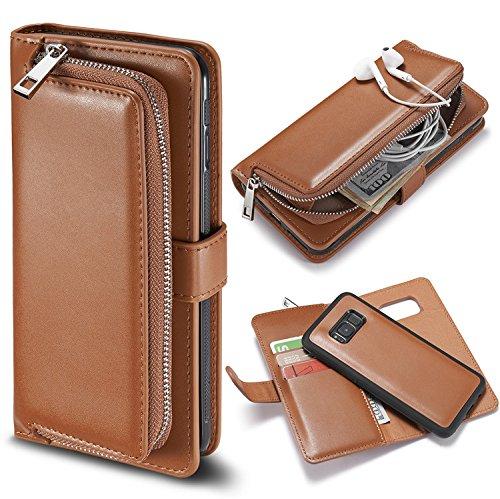 Schutzhülle für Galaxy S8, Galaxy S8 Handyhülle, Vandot Flip PU Ledertasche [High Capacity] abnehmbare magnetische Reißverschluss Tasche Case Card Halter Slots Cover Premium Multi-Function Geldbörse G Pocket Brown