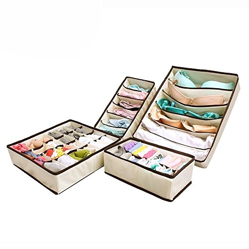 PAffy Set Of 4 Foldable Drawer Dividers, Storage Boxes,Innerwear Storage Box, Closet Organizers, Under Bed Organizer, For Clothing, Shoes, Underwear, Bra, Socks - Cream Color