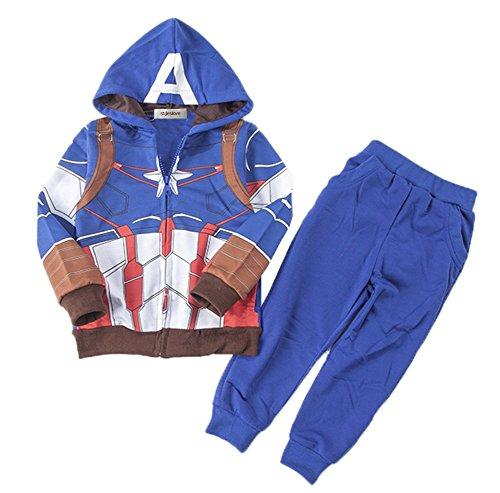 StylesILove Super Hero 2PC Costume Hoodie Jacket and Pants (2-3 Years, Captain) (Captain America Toddler Girl Costume)