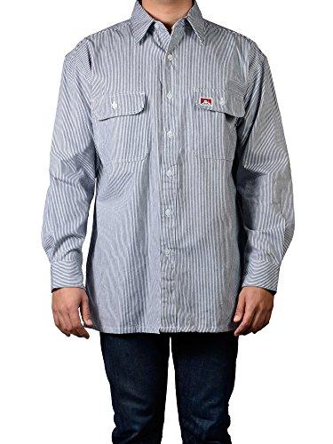 Ben Davis Men's Long Sleeve Striped Button-Up Work Shirt (3X-Large Tall, Hickory (100% Cotton))